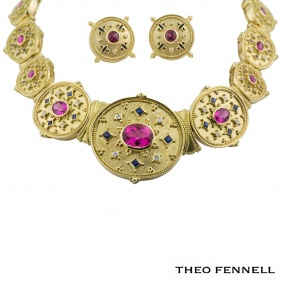 Theo Fennell Diamond Sapphire and Tourmaline Jewellery Suite